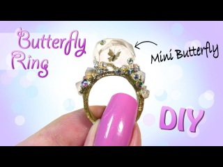 Butterfly Crystal Ring Tutorial DIY Miniature butterfly Jewelry