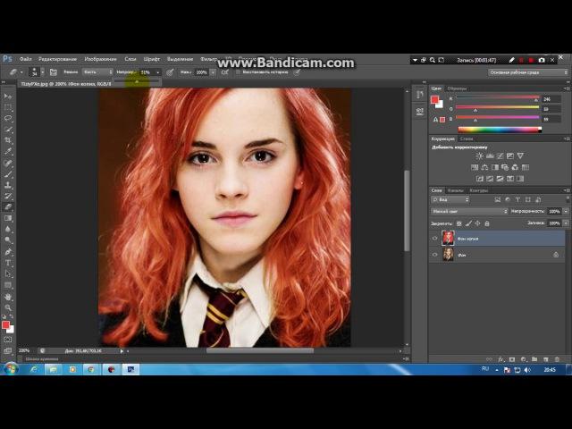 Урок3. Как покрасить волосы в фотошопе. (By Lina)