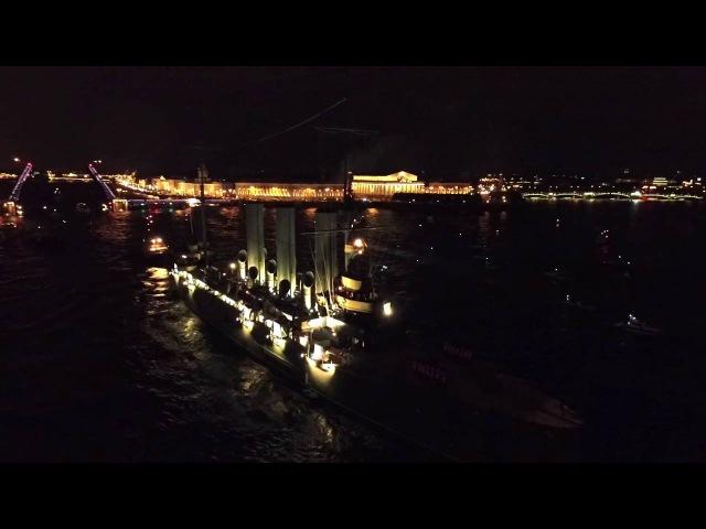 Возвращение крейсера Аврора на место стоянки (с воздуха)