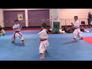Karate Kids practicing bunkai before performing a show.