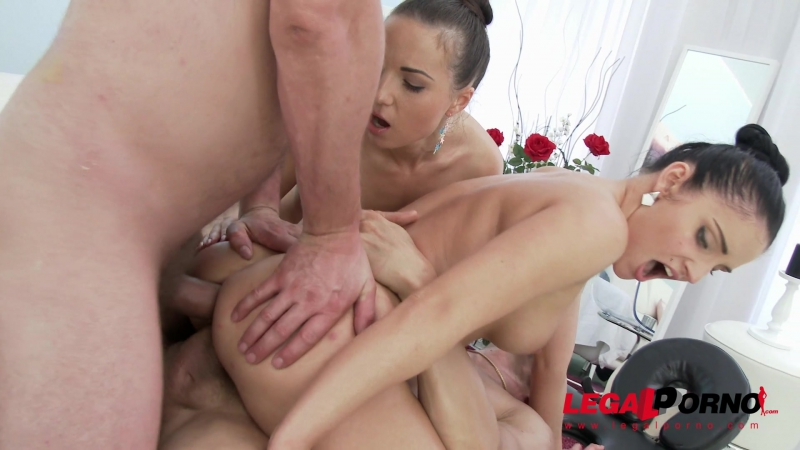 Kristy Black Lucia Denville lick and toy each others ass before anal sex with double penetration