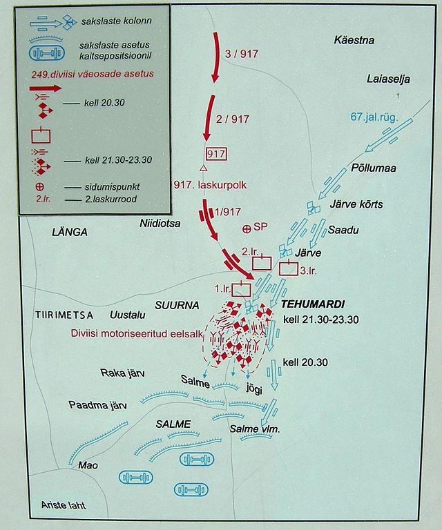 Карта ночного боя у Техумарди. (К сожалению только на эстонском.) Красным отмечены движения советских войск. Синим — немецких.