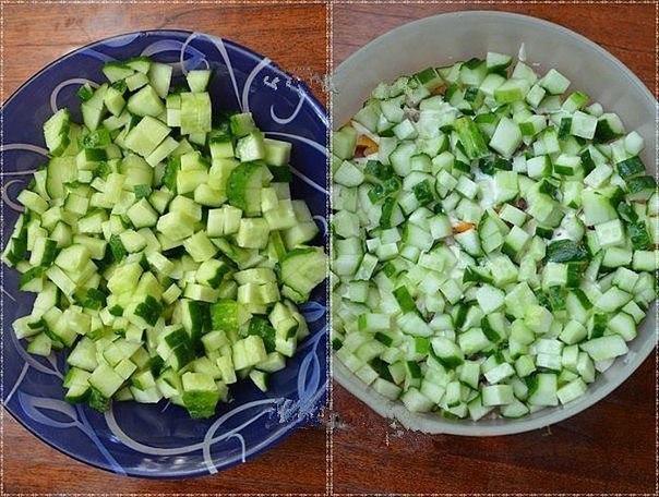 Салат с копченой курицей, корейской морковью и