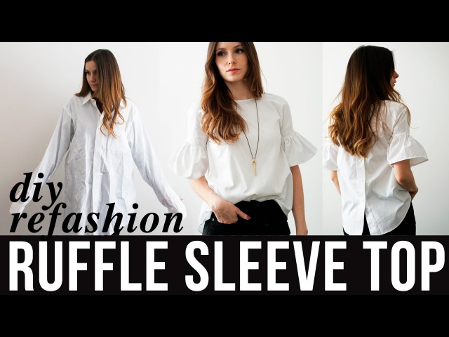 DIY ruffle sleeve top refashion from dress shirt