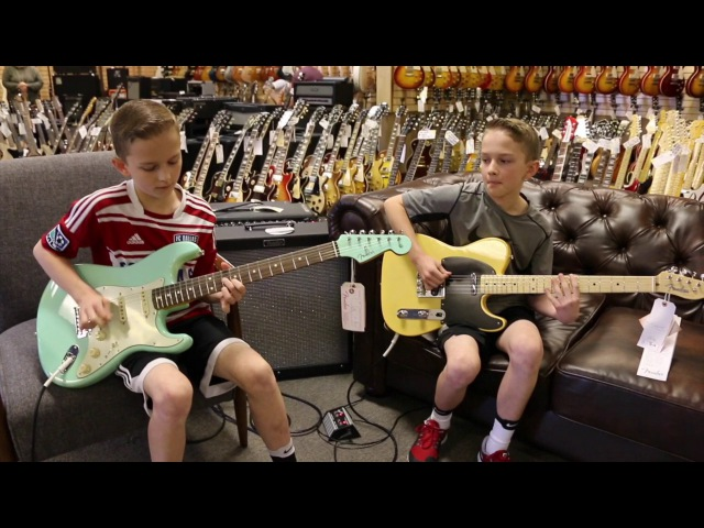 13-Year-Old Twins: Zane and Noah Stanley playing a Fender Stratocaster Telecaster