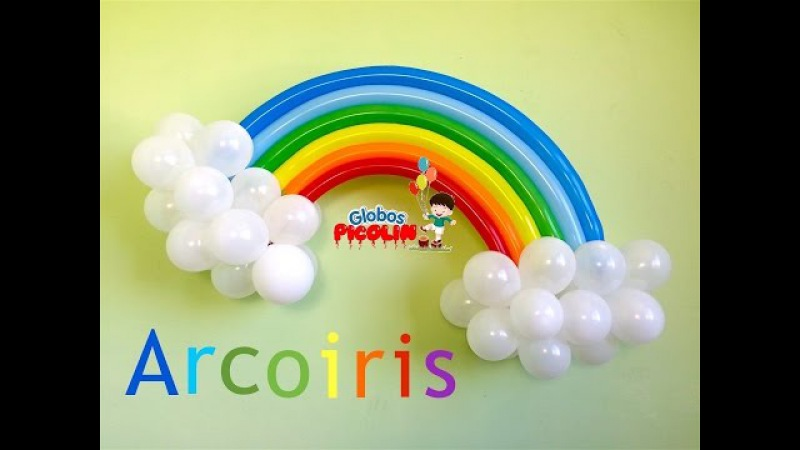 Como hacer un arcoiris con globos para decoraciones My little pony 21