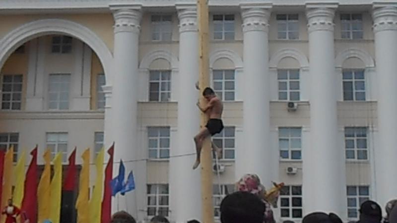 Забирается на масленичный столб. Масленица, Ульяновск, 26 февраля 2017 (c)www.ulgrad.ru