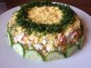 Салат Первоцвет с курицей и крабовыми палочками.Рецепт салата на праздничный с