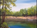 Урок2 АКРИЛ Берег реки деревья отражения River in Acrylic Trees water reflections rocks