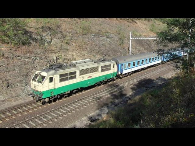 Vlaky v zářezu Kojice Týnec nad Labem 20 9 2016