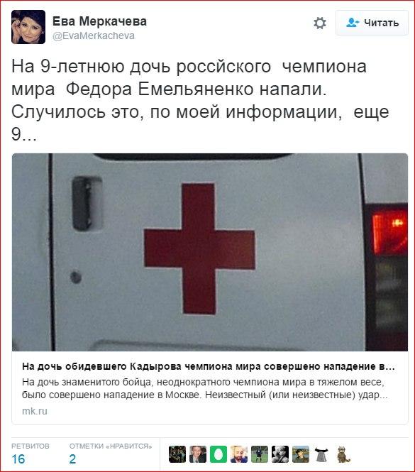 Дочь Федора Емельяненко угодила в клинику после избиения мужчиной
