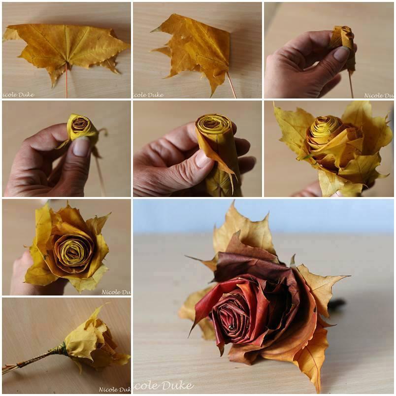 Как сделать Цветы из осенних листьев (видео)