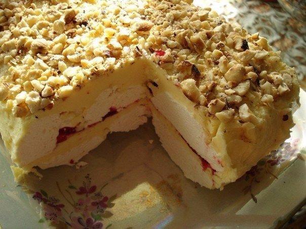 Зефирный торт с фруктами  кулинарный рецепт