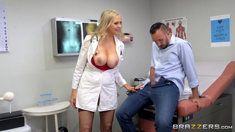 Julia Ann ( Doctoring the Results) 2017, Big Tits Worship, Blonde, Blowjob ( POV), MILF, Uniform, Voyeur, HD