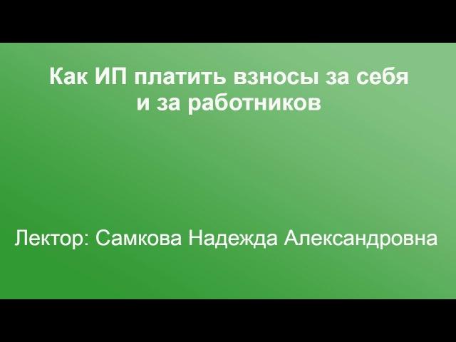 Как ИП платить взносы за себя и за работников. 8.12.16. Самкова Н.А.