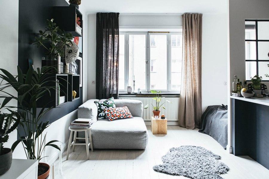 Скандинавский интерьер: квартира 33 м с внутренним окном.