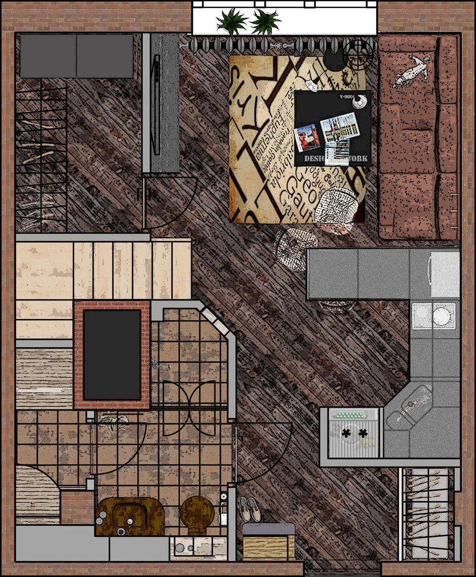 Проект лофта 30 м (+ второй уровень 14 м).
