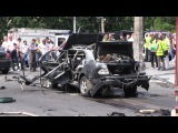 Видео с места взрыва в Киеве машины сотрудника разведки ВСУ