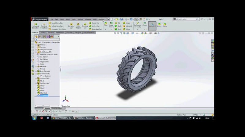 SolidWorks software to draw on the tractor tire - Solidworks traktör lastiği çizimi Murat TURHAN