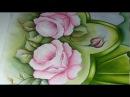 Pintura em Tecido. Pintando folhas, rosas e barrado. Parte 1.