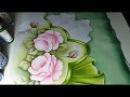 Pintura em Tecido. Pintando folhas, rosas e barrados. Parte 2