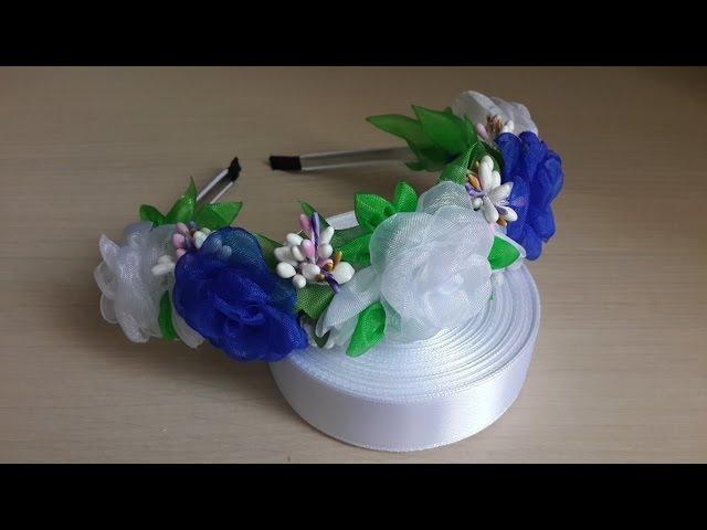Ободок Канзаши.Белые и синие Розы. Органза.