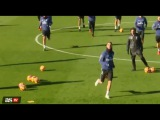 Cristiano Ronaldo tries to hit the camera at Real Madrid training 06/01/2017