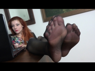 Goddess victoria foot worship sexy feet neylon under table #fetish #mistress #femdom