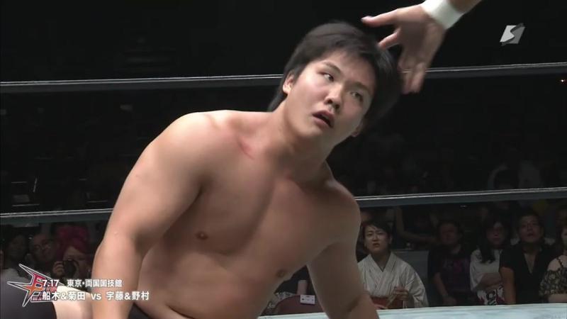 Kazumi Kikuta, Masakatsu Funaki vs. moon vulcan (Takuya Nomura, Yoshihisa Uto) (BJW - RYOGOKUTAN 2017)