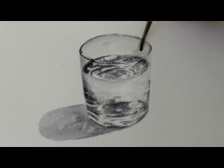 Акварель. Стакан с водой. Glass of water in Watercolour