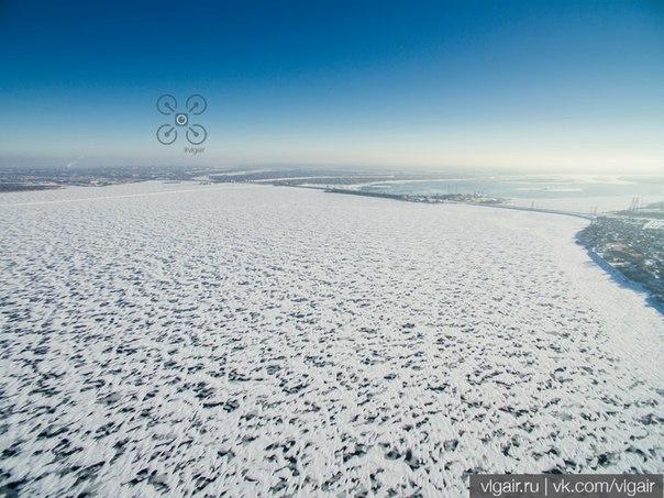 Ледяная пустыня на Волгоградском водохранилище и Волжская ГЭС.  #vlgai