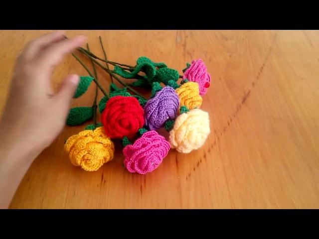 Цветок роза со стебельком Крючком.часть1 crochet rose