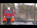 2ЭС10 121 Гранит с бустерной секцией и грузовым поездом