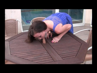 Horisontal outdoor glory hole blowjob and cumshot by sylvia chrystall