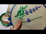 Лаванда вышитая лентами  Lavender embroidered ribbons