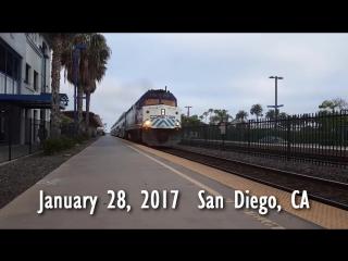 L'Arrivée d'un train en gare de la San Diego. Приехал поезд в Сан Диего - 720p