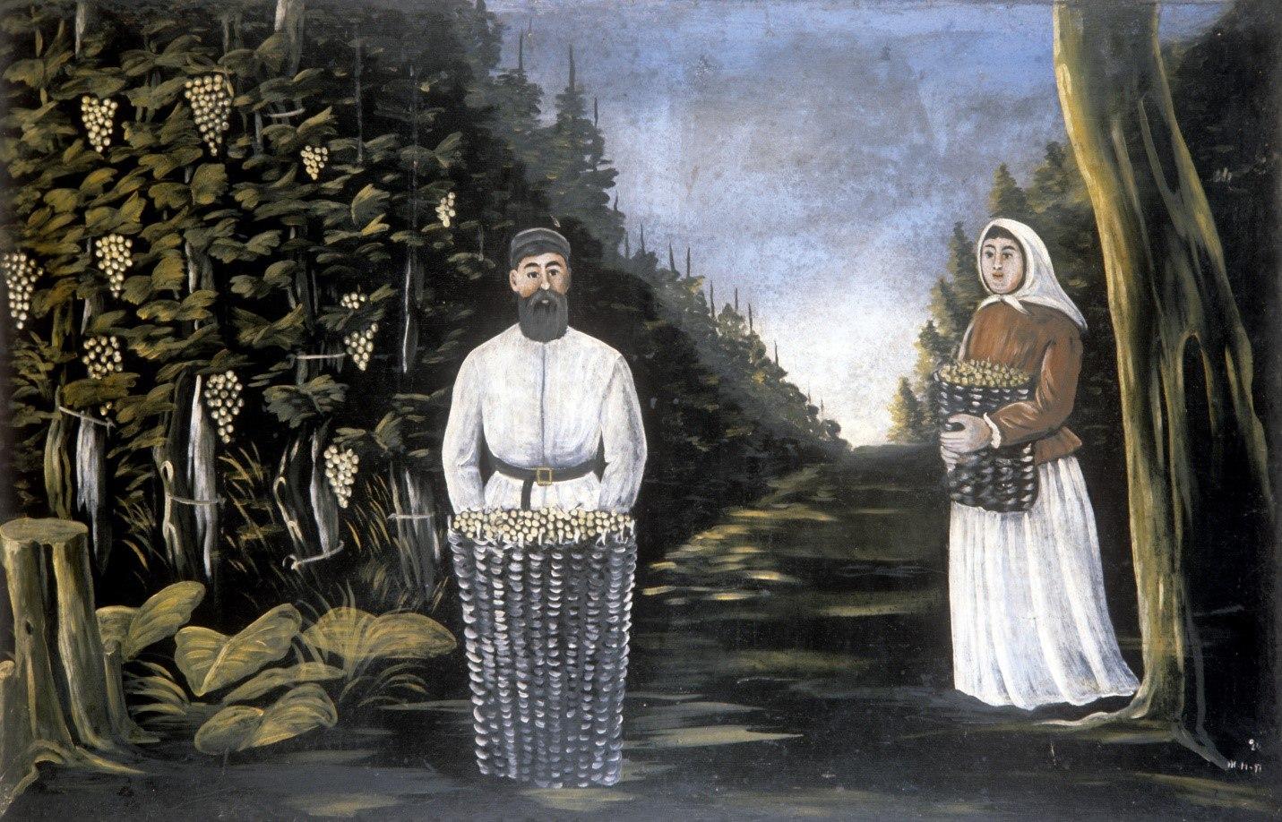 Нико Пиросмани «Сбор винограда»)