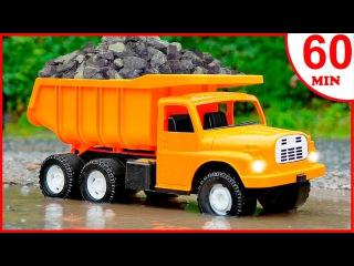 JCB for children Truck and JCB Excavator w Crane +1 HOUR Kids Video Educational Trucks Cartoon