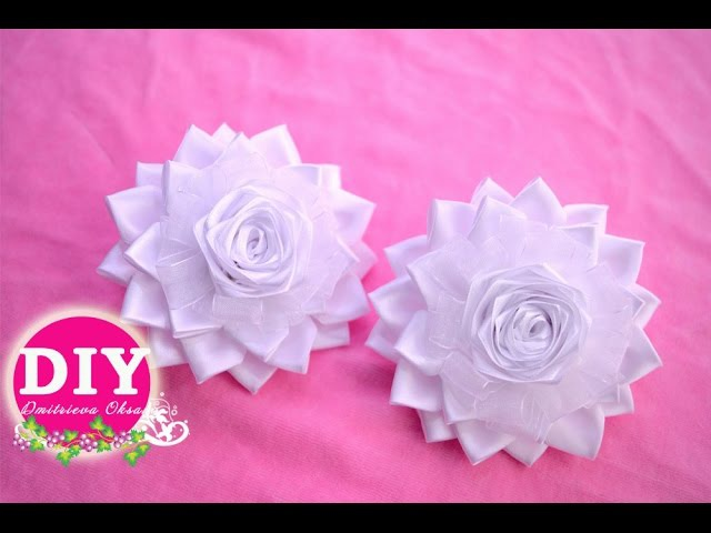 DIY Kanzashi Flower scrunchy.Elegant bows.The Flower from the satin ribbon
