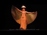 Can YOU do this_ Amazing bellydancer Neon - candle tray + wings 393