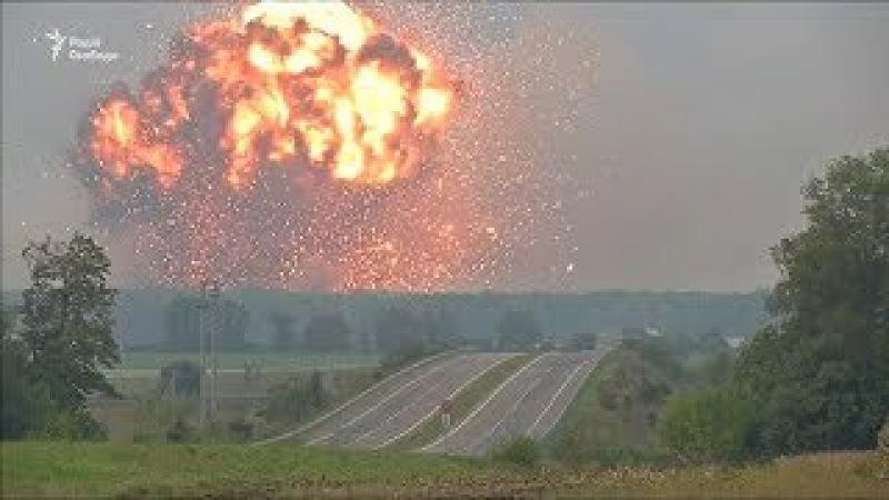 Вінничина. Відео вибухів на артилерійських складах