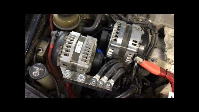 Установка двух генераторов в авто ( 500 amp ) Installing Dual Alternators