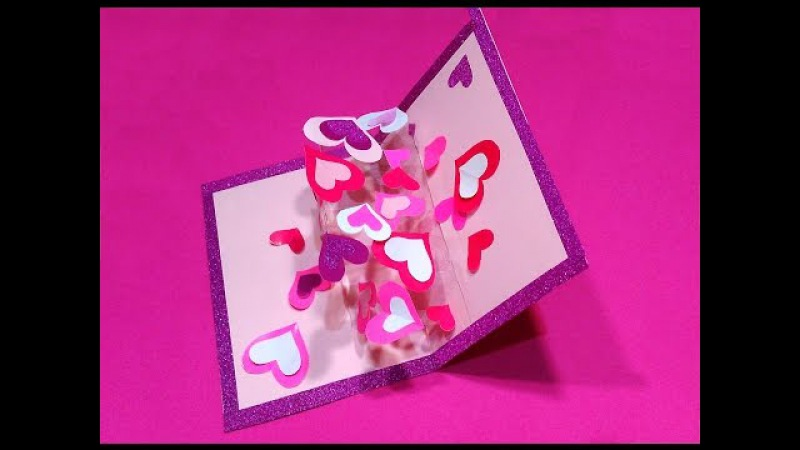 Valentine's greeting card with hearts (transparent acetate). DIY Pop-up card with hearts