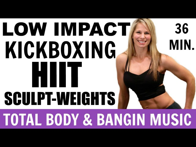 Low Impact Cardio Kickboxing Sculpt Weights Workout Video, Cardio Strength, Barefoot Workout