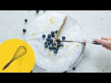 Lemon Cake With Blueberries and Icing Light and Fresh