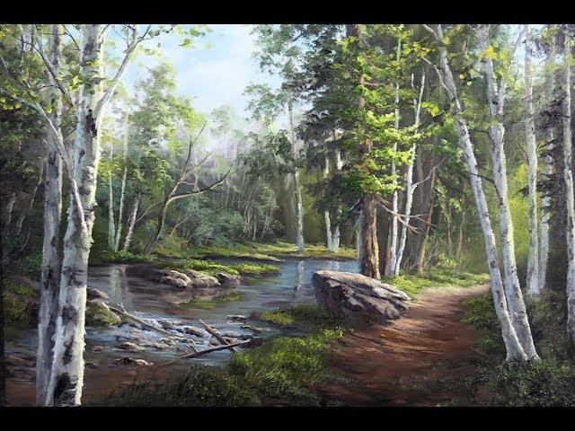Hidden Birch Trees Oil Painting