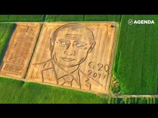 Портрет Путина трактором
