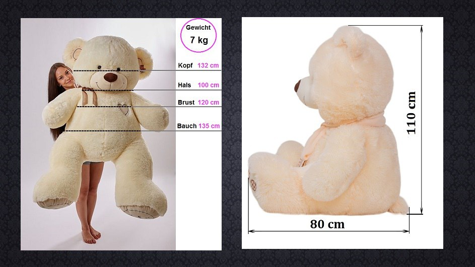 Teddybär RIESEN Weiß 190 cm BIG XXL  Geschenkidee Kuscheltier  Plüschtier
