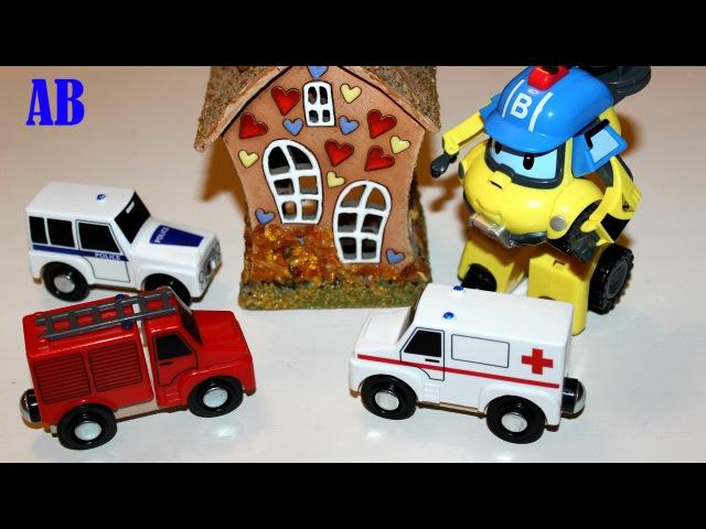 Пожарные машины тушат пожар. Робокар Поли спас Свинку Пеппу. Развивающее видео д...