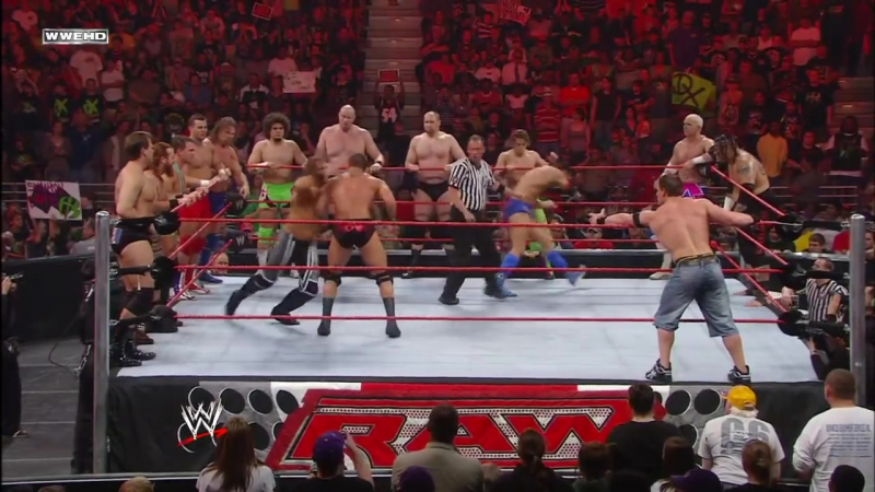 John Cena Randy Orton battle the entire Raw roster- Raw, March 17, 2008